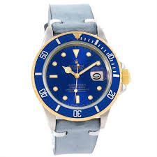 12341 rolex submariner steel 18k yellow gold leather strap mens watch 16613 swisswatchexpo