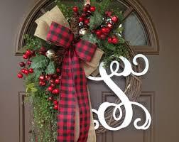 initial wreaths for front doorMonogram wreath  Etsy