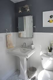 fabulous half bath decorations features white pedestal bath sink and square shape wall mirror with stainless steel frames