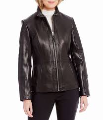 womens preston york genuine leather stand collar scuba jacket usjacket447on