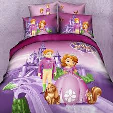 2018 sofia first bedding sets for king queen twin size 100 cotton duvet quilt bed cover kids bedlinen cartoon purple 3d from naland 129 44 dhgate com