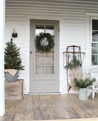 Gray Grey Front Door On This Modern Farmhouse Entry Way And Porch