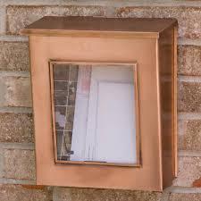 Vertical wall mount mailbox Brushed Aluminum Vertical Wallmount Copper Mailbox With Viewing Panel Antique Copper Offdayco Antique Copper Wall Mount Mailbox Signature Hardware