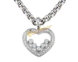 chopard wg diamond heart pendant with 5 floating diamonds