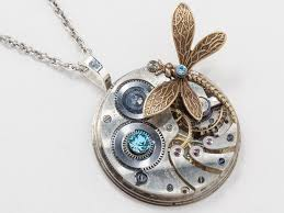 steampunk necklace silver pocket watch movement gear gold dragonfly blue topaz crystal pendant statement steampunk jewelry