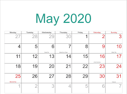 April May 2020 Calendar Printable Awesome May 2020 Calendar Pdf Word Excel Template
