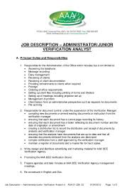 job description administratorjunior rating analyst