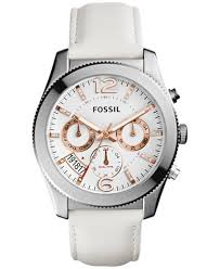 fossil watches macy s fossil women s chronograph perfect boyfriend white leather strap watch 39mm es4250