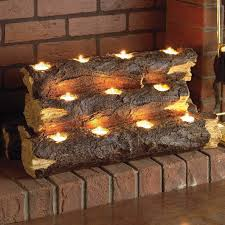 lovely ideas tealight fireplace log wildon home resin