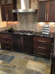 Mosaic Kitchen Floor Tiles Stone Glass Mixed Mosaic Backsplash With Oversized Slate Tiles
