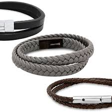steeltime men s leather and stainless steel wrap bracelets multiple options