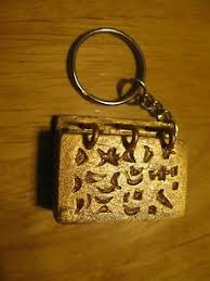 keychain lds book of mormon gold plates wood