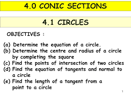 1 objectives 4 1 circles a determine the equation of a circle