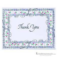 Ted Brown Music Music Treasures Note Cards Thank You