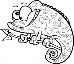 Vector of a Cartoon Happy Chameleon Lizard with Camoflauge ...