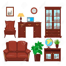 classic home office furniture. Set Of Classic Home Office Furniture Elements For Cabinet, Library, Parlour. Working