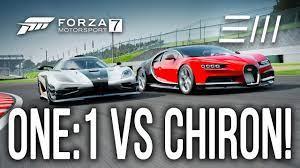 Who is the fastest car? New 2018 Bugatti Chiron Vs Koenigsegg One 1 Drag Race Forza 7 Youtube