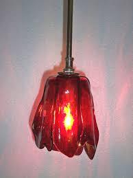 fused glass tulip pendant light