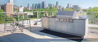 from the urban collection this outdoor kitchen has a small footprint yet features a caliber pro grill a marvel refrigerator drawers and cabinets