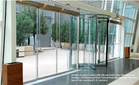 all glass entrance system with crl low profile door rails and sidelite rails crl