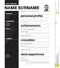 Typography Resume Template Cv Resume Template With Nice Typography Stock Illustration 1