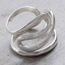 unicef market peruvian jewelry high polish sterling silver band ring sky curves