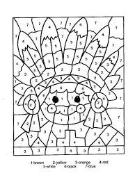 Printable Color By Number Thanksgiving Coloring