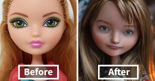 ukrainian artist removes makeup from dolls to repaint them and result is almost too real