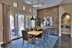 Impressive Dining Table And Chair Also Blue Rug Under Pendant Lighting