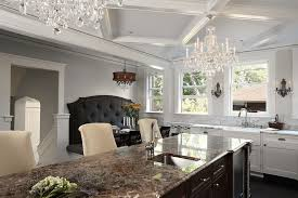 minneapolis waterfall crystal chandelier kitchen traditional with two tone cabinets chandeliers a sink