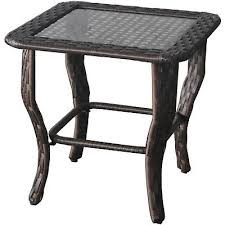 outdoor glass top side table all weather wicker frame cover patio deck furniture