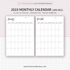 Monthly Calendar Monthly Planner 2019 Calendar A5 A4 Letter Size Refills Planner Binder Instant Download