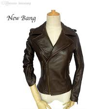 2019 whole 2016 genuine leather jacket women brown motorcycle real leather jacket short women s sheepskin coat chaquetas de cuero mujer from huoxiang