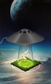 Ufo Alien Abduction Desk Lamp Cow Farm Sci Fi Silver Spaceship Outerspace Space Bedroom Night Light Home Office