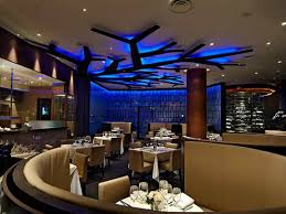 unique restaurant lighting ideas leds. Splendid Restaurant Concept Design Ideas With Round Shape Dark Fair Cream Brown Colors Curve Barriers And Unique Lighting Leds I