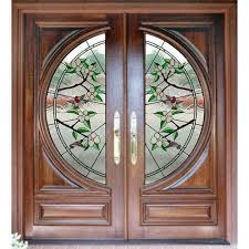 stained glass wood door