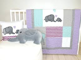 decoration pink and gray elephant crib bedding baby quilt purple