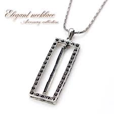 necklace lady s black cool chic square pendant accessories glitter silver shin pull necklace gift present birthday memorial day celebration outing black