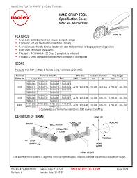 Hand Crimp Tool Specification Sheet Order No 63819 1000