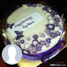 Purple Happy Birthday Cake With Name Birthday Cakes With Name And