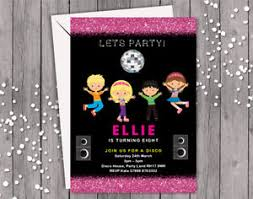 Personalised Birthday Invitations For Kids Disco Party Personalised Birthday Party Invitation Girl Daughter