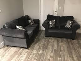 new 2pc dark grey living room set