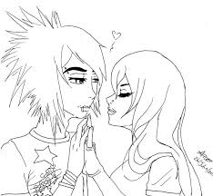 Cute Emo Anime Couple Coloring Page Emo Love
