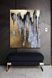 abstract canvas painting gold wall art