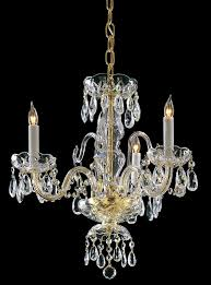 3 lights polished brass crystal chandelier