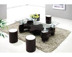 round coffee table with stools urban style living space idea with unique glass coffee table and