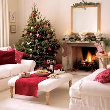 Living Room : Fancy Christmas themed Living room with Christmas Tree amp Mantel  Decoration and white