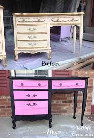 french provincial desk painted black and hot pink before and after pictures refinished by kelly s
