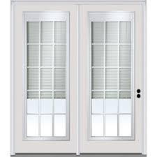clear glass internal blinds grilles primed fiberglass prehung left hand full lite stationary patio door