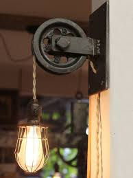 pulley lighting. Rustic Farmhouse Pulley Pendant Light Lighting